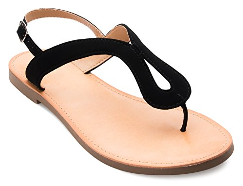 OLIVIA K Women's Basic Flat Summer Sandals - Thongs Ankle Strap - Comfort, Fashionable Shoes Black Nubuck 10 B(M) US - Low Heel Patent Thong Sandal