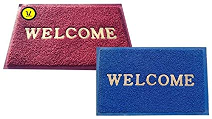 Yellow Weaves Welcome Plastic Set of 2 Door Mats - 38.1 cm x 58.4 cm- (Color AS PER Availability)