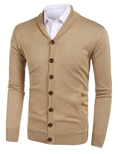 Misakia Mens Classic Shawl Collar Button Front Knit Cardigan Sweaters (Camel L) Shawl Collar Button Front