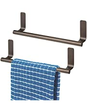 """mDesign Decorative Metal Kitchen Self-Adhesive, Wall Mount Towel Bar - Storage and Display Rack for Hand, Dish and Tea Towels - Stick on Inside or Outside of Doors, 9"""" Wide"""