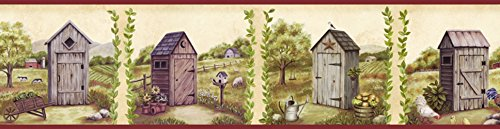 Outhouse Wallpaper Borders - Chesapeake PUR44552B Fredley Blue Country Meadow Outhouse Wallpaper Border
