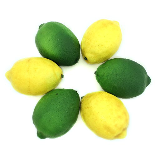 ALEKO AFA2 Decorative Realistic Artificial Fruits Assortment - Package of 6 Fruits 3 Lemons 3 Limes