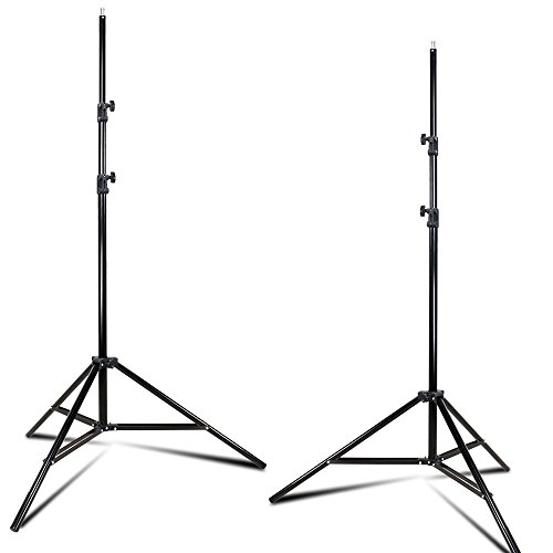Julius Studio 2-Pack Lighting Stand Tripod Max Height 96 inch, Enhanced Thicker Pole Construction Prevents Wobbling and Bending, 1/4–20 Standard Screw Thread on Top, Photography Video Studio, JSAG274 by Julius Studio