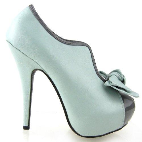 SHOW STORY Vintage Aqua Two Tone Bow Platform Stiletto High Heel Ankle Boots,LF30427BU37,6US,Aqua