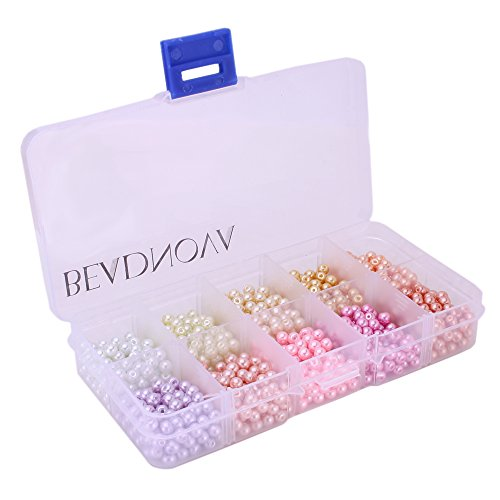 BEADNOVA 4mm 1000pcs Tiny Satin Luster Glass Pearl Round Beads Assortment Mix Lot Jewelry Making (Pearl Beads Bulk)