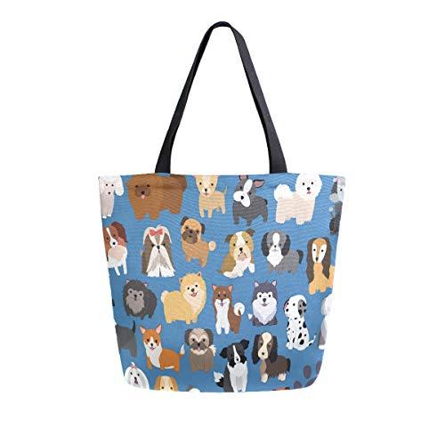 Naanle Animal Dogs Canvas Tote Bag Large Women Casual Shoulder Bag Handbag, Cute Dogs Reusable Multipurpose Heavy Duty Shopping Grocery Cotton Bag for Outdoors.