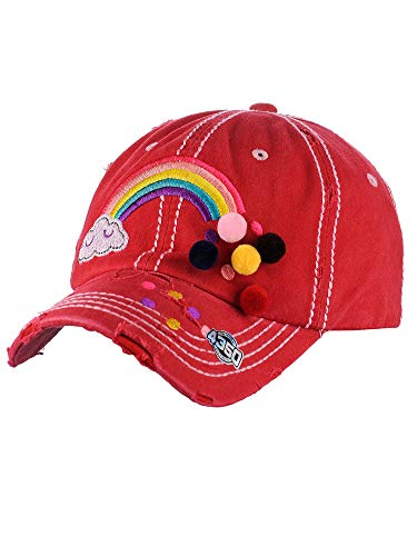 (NYFASHION101 Women's Distressed Unconstructed Embroidered Baseball Cap Dad Hat, Pom Rainbow, Red)