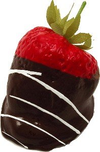 Chocolate Swirl Dipped Strawberry 3 Pack Fake Food by Flora-cal Products