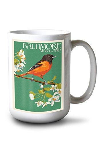 -Oriole Letterpress (15oz White Ceramic Mug) (Baltimore Orioles Ceramic)