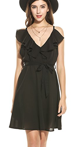 ACEVOG Women's Sexy Ruffled V-Neck Sleeveless A-line Cocktail Party Dress with Belt