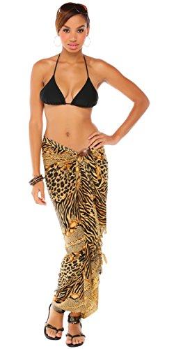 1mundo pareos para mujer Print de tigre Bañador cover-up–Pareo Style 12