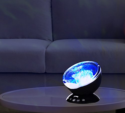 Price comparison product image LuxLumi Aqua Dream Projector with Music Player, Nature Sounds & 7 Projector Color Modes for Kids, Teens, Adults, Meditation, Bedroom, Living Room, Party, Gift, Spa, Office and Sleeping Aid (Black)