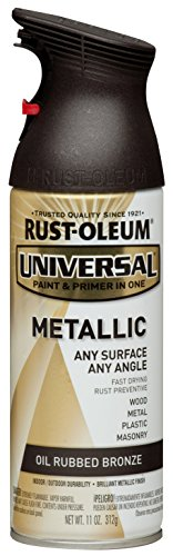 Rust-Oleum 249131 11 oz Universal All Surface Spray Paint, Oil Rubbed Bronze Metallic (Satin Cabinet Finish Bronze)