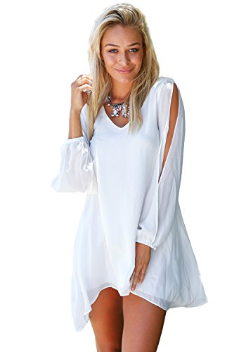 LookbookStore - Robe Mini - Blanc -Manches Longues Fendues - en Chiffon - Sans Doublure - Femme
