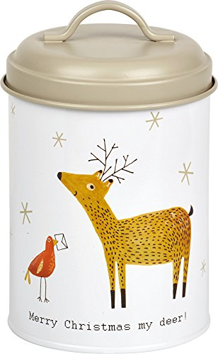 Christmas Merry Tin - Celebrate the Home DAK744500 Holiday Fillable Cookie Tin, Merry Christmas My Deer