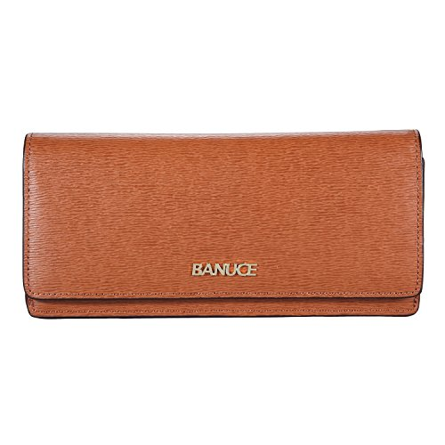 Banuce Slim Genuine Leather Wallet for Women Vintage Long Bifold Clutch Purse Card (Twill Tri Fold Wallet)