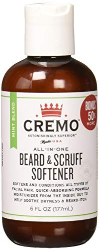 Cremo Beard and Scruff Softener, Mint Blend, 6 Ounce – Conditions Coarse Facial Hair of All Lengths, Delivering Touchably Soft Results in Just 30 Seconds