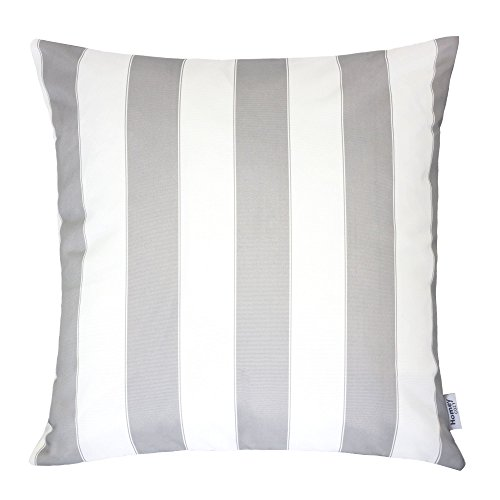 Homey Cozy Outdoor Throw Pillow Cover, Classic Stripe Light Gray Large Pillow Cushion Water/UV Fade/Stain-Resistance For Patio Lawn Couch Sofa Lounge 20x20, Cover Only