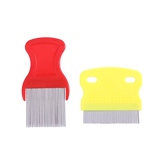 UEETEK 2Pcs Pet Dog Cat Puppy Hair Lice Flea Egg Dirt Dust Remover Stainless Steel Tooth Comb Health Grooming Brush Dandruff Comb (Random Color)