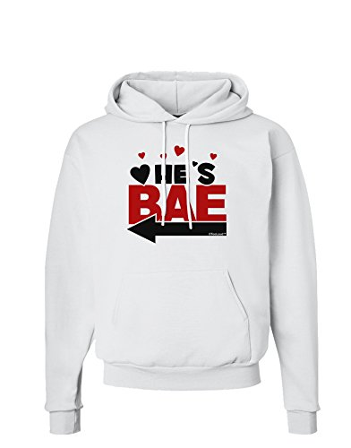 TooLoud He's BAE - Left Arrow Hoodie Sweatshirt - White - 2XL