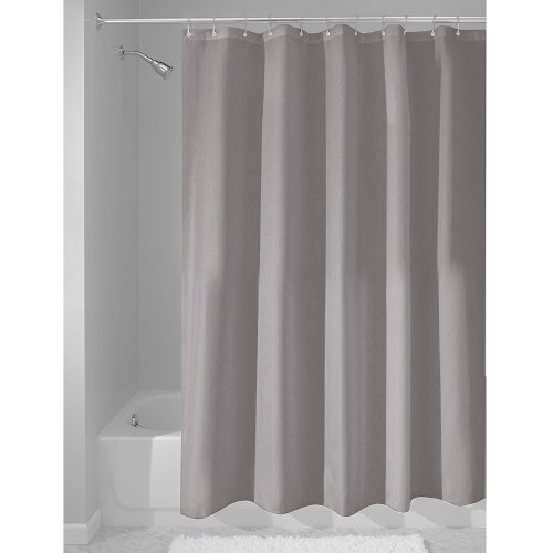 InterDesign Mildew-Free Water-Repellent Fabric Shower Curtain, 54-Inch by 78-Inch, Gray (Shower Stall Fabric Curtain Liner)