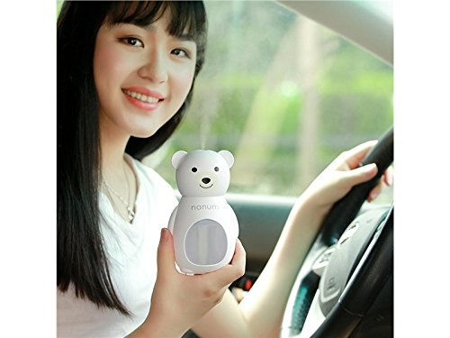 Yunqir Compatible Cute Bear LED Humidifier Air Diffuser Purifier Atomizer Aroma Diffuser(White)