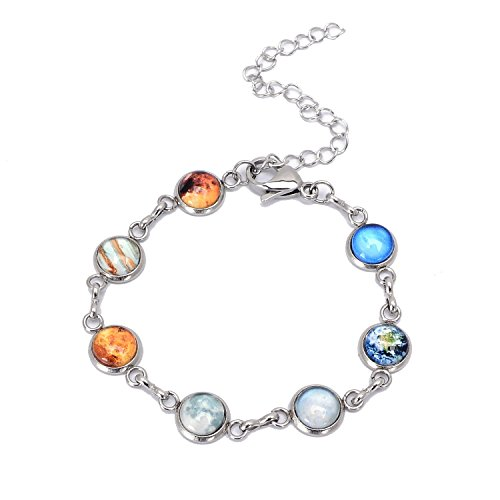 QILMILY Outer Space Bracelet Moon Bracelet Silver Bracelet Planet Symbol Pendants with Same Sizes Science Gift ()