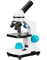 ETE ETMATE 100-2000X Biologische Microscoop Kit , Microscoop Slides Set, Samengestelde Ergonomie, voor Student Wetenschappelijk Experiment, Children's Interest Development voor Kids Student Adult