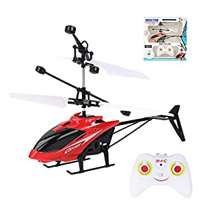 LKOER Remote Control Helicopter Toy, Mini Rc Infrared Induction Drone, Radio Remote Control Electric Helicopter, with…