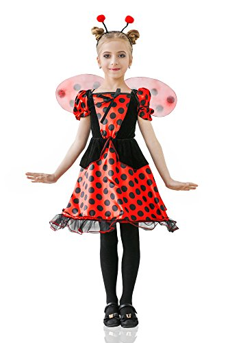 [Girls' Red Ladybug Princess Fairy Love Bug Dress Up & Role Play Halloween Costume (3-6 years)] (Red Halloween Kids Costumes)