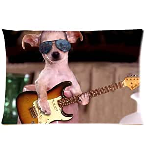 Pookeb Guitar Star Chihuahuas New Pillow Case20x30(One side)