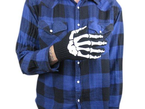 Goth Black Mens Skeleton Bone Knit Gloves Halloween NEW