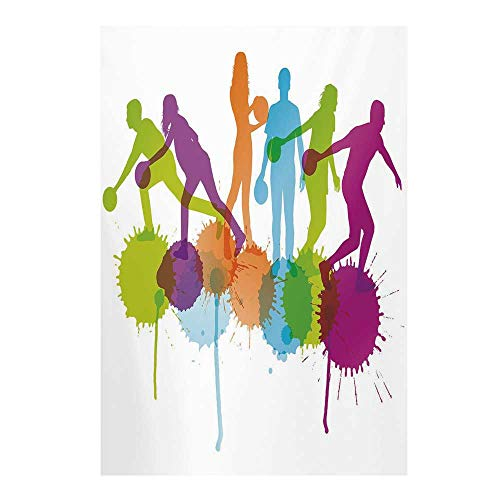 Bowling Party Decorations Stylish Backdrop,Player Silhouettes Throwing Ball Big Color Splatters Activity Fun Decorative for Photography,59