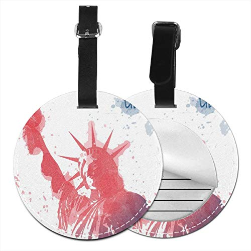 Round Travel Luggage Tags,Watercolor Lady Liberty Silhouette With Paint Splashes Independence,Leather Baggage Tag 1 PCS