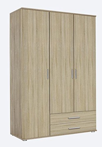 Kleiderschrank Sonoma Eiche braun 3 Türen B 127 cm/H 188 cm Jugendzimmer Kinderzimmer Schlafzimmer Schrank Wäscheschrank