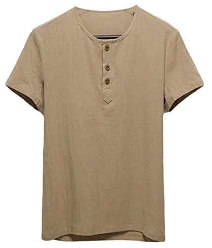 Classic Linen Blouse - WSPLYSPJY Men's Classic Linen Blouse Short Sleeve Rounded Collar Tops Henley Shirt Khaki L