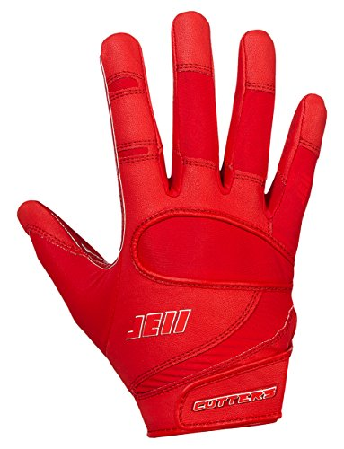 Cutters Mens Football Receiver Glove - Cutters Gloves Signature Series Gloves, Red, X-Large