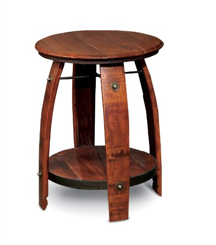 2-Day Designs Barrel Side Table with Shelf ()