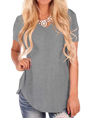 Womens T-Shirts Grey V Neck Tee Short Sleeve Summer Work Tops Loose Comfy Tunic