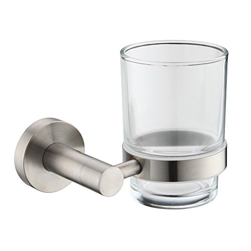 Mellewell Lavatory Single Glass Tumbler with SUS304 Stainless Steel Holder Wall Mounted, Brushed Finish, 05A10