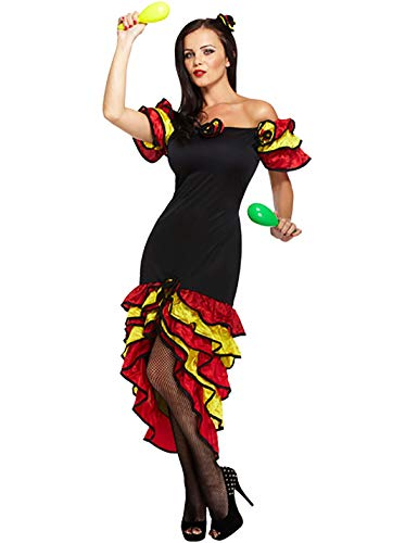 MA ONLINE Ladies Fancy African Indian Rumba Dancer Costume Womens Spanish Salsa Halloween Outfit One Size Fits US 4-10
