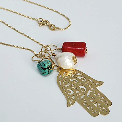 Hamsa Pendant. Gold Filled 14Kt Chain with Hamsa and three stones. Coral, Turquoise, Pearl. Wire Wrapped Pendants. Protection, Prosperity and Happiness ()