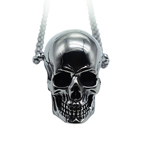 GANG SHI DAI Men Silver Black Gothic Skull Necklace Stainless Steel Chain -