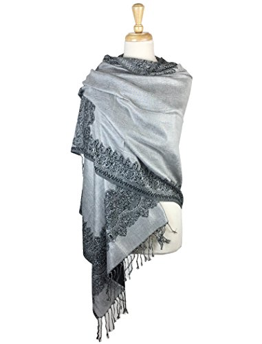 Paskmlna Border Pattern Double Layered Reversible Woven Pashmina Shawl Scarf Wrap Stole (003#27),Large