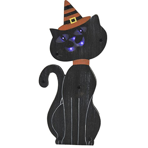 One Holiday Way Lighted Wooden Black Cat in Witch Hat Standing Halloween Sign Tabletop Decoration (Stripes)