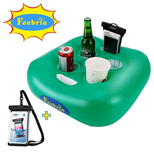 Feebria Floating Drink Holder Pool Floats Upgraded Design with 4 Holes for Pool Fun,Party (Pouch)