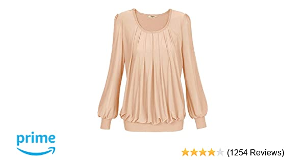 Timeson Womens Long Sleeve Scoop Neck Pleated Front Fitted Blouse Tops At Amazon Womens Clothing Store