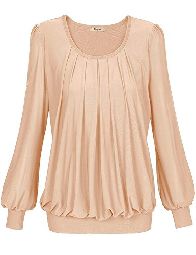 Timeson Puff Sleeve Banded Bottom Tops Womens Long Sleeve Scoop Neck Pleated Front Fitted Blouse Top X-Large Beige