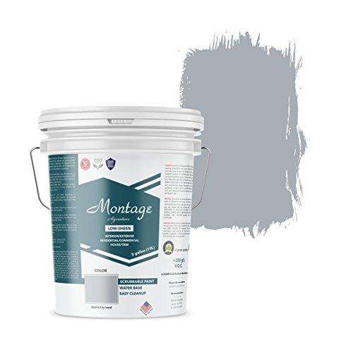 Montage Signature Interior/Exterior Eco-Friendly Paint, Twilight - Low Sheen, 5 Gallon (Best Paint For Exterior Concrete Walls)