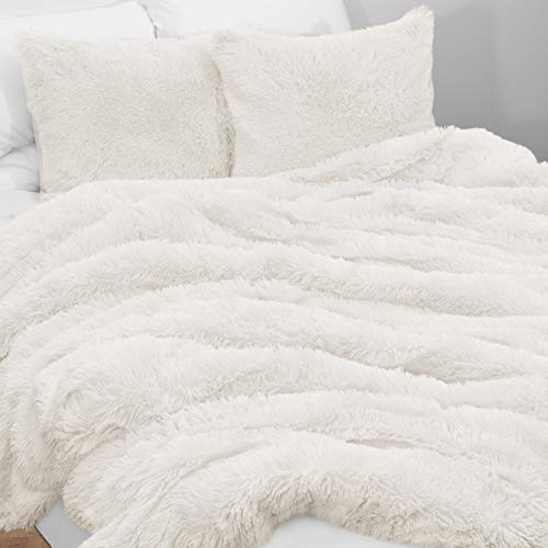KB & Me Boho Off White Fuzzy Faux Fur Plush Duvet Comforter Cover and Sham 3 pc. Soft Shaggy Fluffy Full/Queen Size Bedding Set Ivory Cream Luxury College Dorm Teen (Sets Fur Faux Bedding)